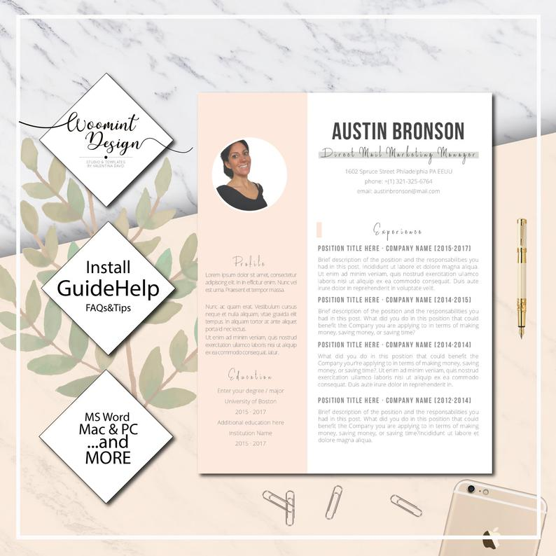 """La costumbre más fácil. Currículum perfecto para cualquier persona que busque trabajo · Currículum vitae y carta de presentación para Microsoft Word · CV Premium · """"Austin"""" Free Gratis Template"""