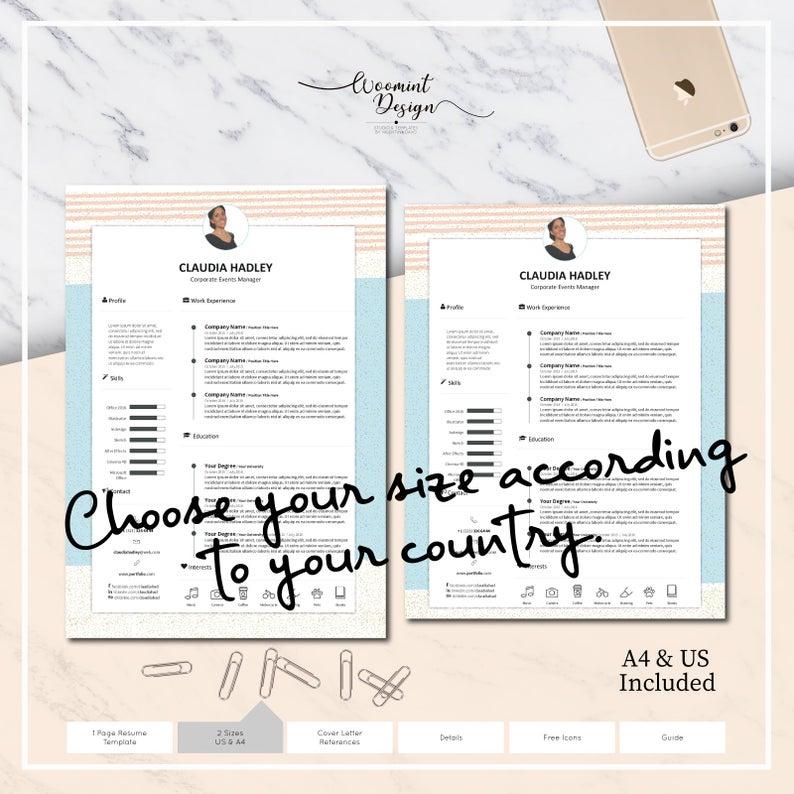 Curriculum vitae hermoso y original de la plantilla · Curriculum vitae y carta de presentación + Icon Set para Microsoft Word · Consejos · CV Premium ·