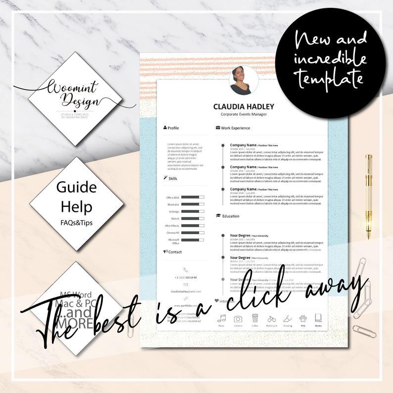 """Curriculum vitae hermoso y original de la plantilla · Curriculum vitae y carta de presentación + Icon Set para Microsoft Word · Consejos · CV Premium · """"Claudia"""""""